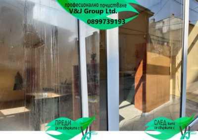 Професионално почистване на силно замърсени витрини от V&J Group Ltd 2020